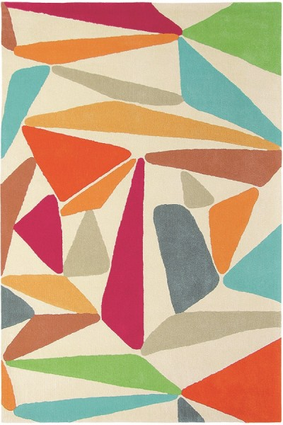Kurzflor Designer Teppich Brink & Campman Xian Triangle 77600 weiss rot