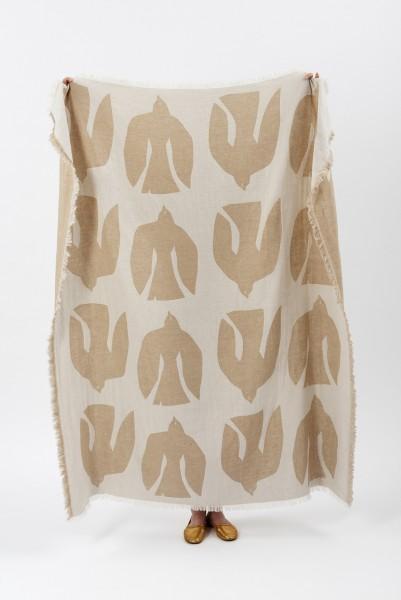 Decke Merinowolle Brita Sweden Early Bird sand / beige weiss