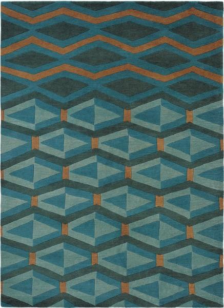 Kurzflor Designer Teppich Brink & Campman Yara Artdeco 33508 türkis blau