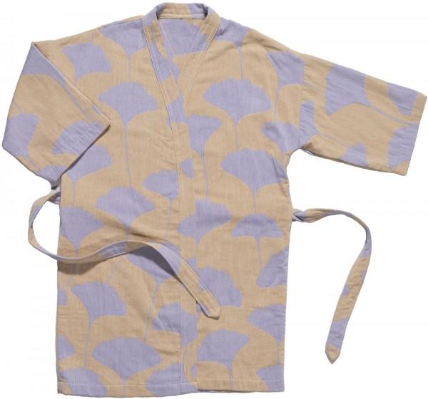 Kimono recycelte Baumwolle Brita Sweden Ginko hay / beige lila