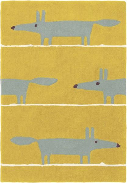 Kurzflor Designer Teppich Scion Mr Fox 25306 Mustard gelb
