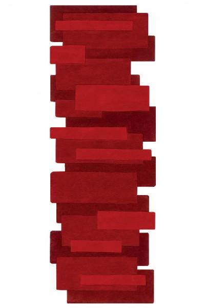 Kurzflor Designer Teppich Angelo Pebbles Läufer 9713-10 rot