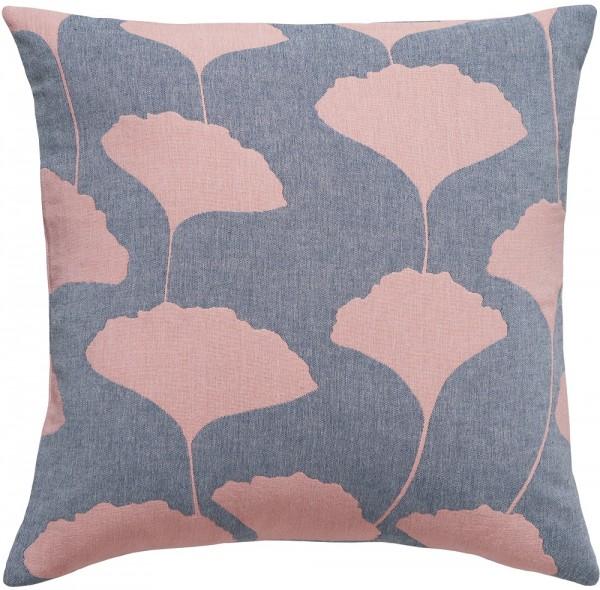 Kissen recycelte Baumwolle Brita Sweden Ginko denim / rosa blau