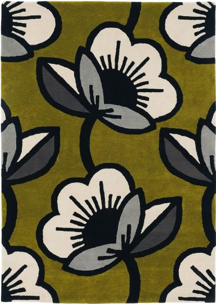 Kurzflor Designer Teppich Orla Kiely Passion Flower 059607 olive grün