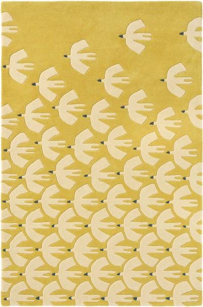 Kurzflor Designer Teppich Scion Pajaro 23906 Ochre gelb