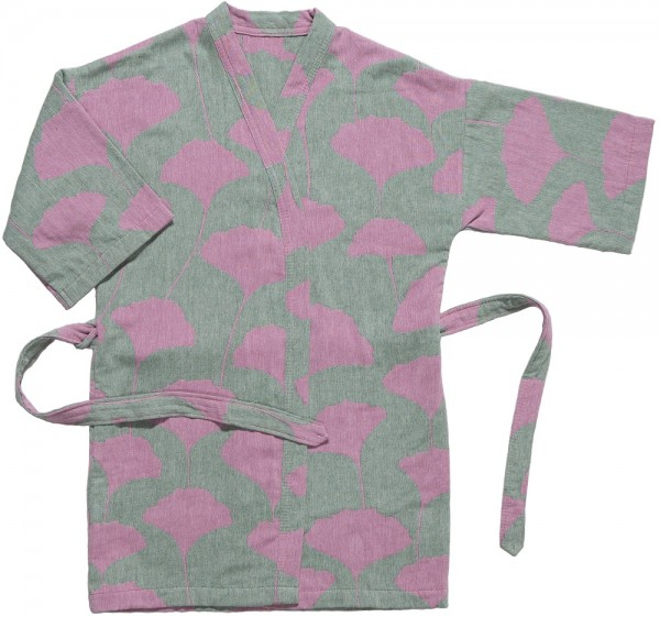 Kimono recycelte Baumwolle Brita Sweden Ginko lush / pink grün