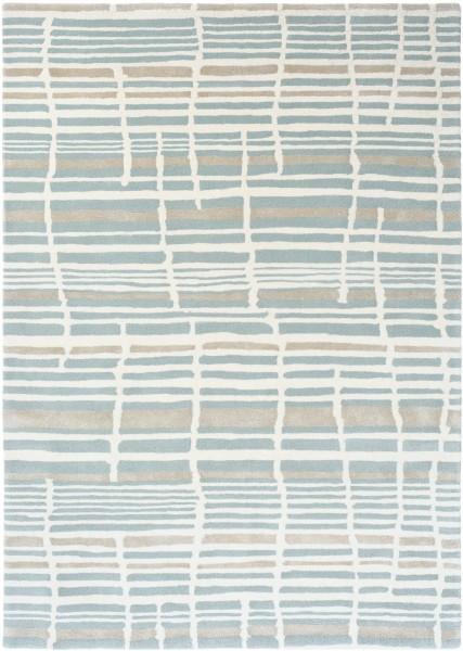 Kurzflor Designer Teppich Florence Broadhurst Tortoiseshell Stripe 039808 Jade blau