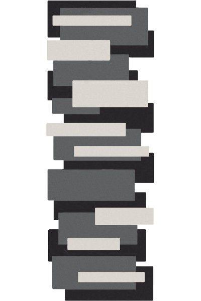 Kurzflor Designer Teppich Pebbles Läufer 9713-500 schwarz grau