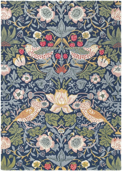 Kurzflor Designer Teppich Morris & Co Strawberry Thief 027708 Indigo blau multicolor