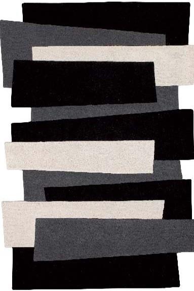 Kurzflor Designer Teppich Angelo Pebbles Balken 9714-500 schwarz grau