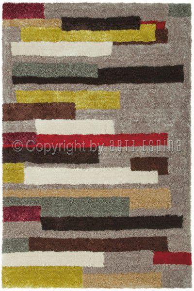 Teppich Arte Espina Dance Shaggy 8104-41 taupe / rot / gelb 120 x 180 cm