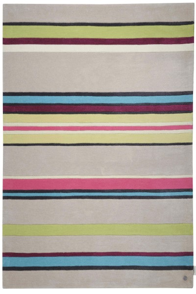 Kurzflor Designer Teppich Tom Tailor Life Stripes multicolor beige