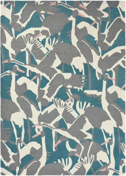 Teppich Ted Baker Cranes 57008 petrol / blau grau