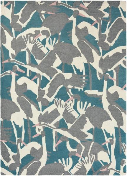 Kurzflor Designer Teppich Ted Baker Cranes 57008 petrol / blau grau