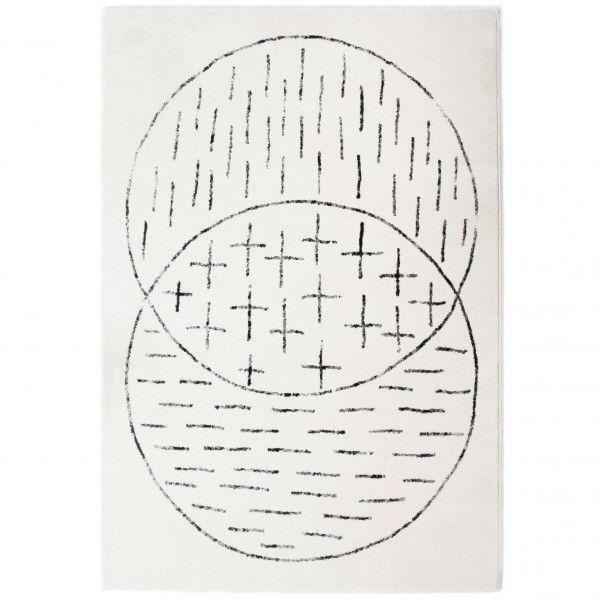 Kurzflor Designer Teppich Edito Masomenos AR002 creme in 160 x 230 cm