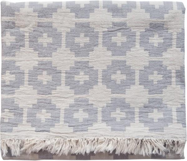 Decke Baumwolle Brita Sweden Flower stone / grau