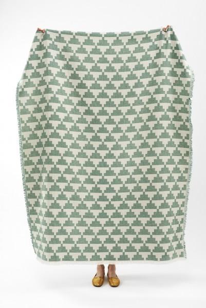 Decke recycelte Baumwolle Brita Sweden Confect pine / grün weiss