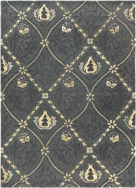 Kurzflor Designer Teppich Morris & Co Pure Trellis 029105 Black Ink anthrazit schwarz