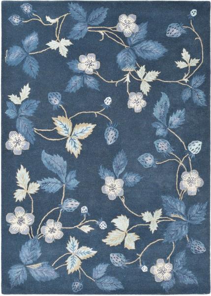 Kurzflor Designer Teppich Wedgwood Wild Strawberry 38118 navy blau