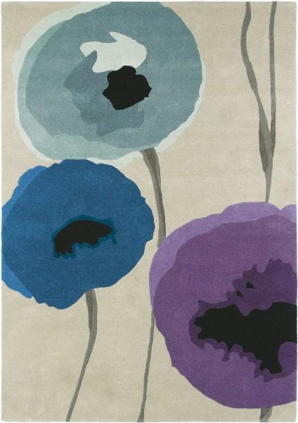 Kurzflor Designer Teppich Sanderson Poppies 45705 silber lila blau
