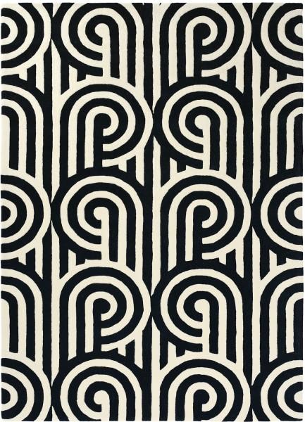 Kurzflor Designer Teppich Florence Broadhurst Turnabouts 039205 schwarz weiss