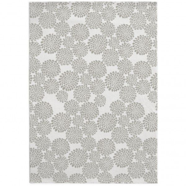 Kurzflor Designer Teppich Edito Blooming Flowers AR009G grau in 135 x 190cm