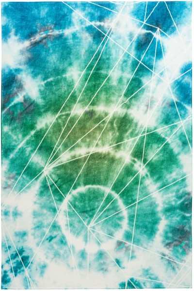 Kurzflor Designer Teppich Obsession Batik 155 ocean / blau grün