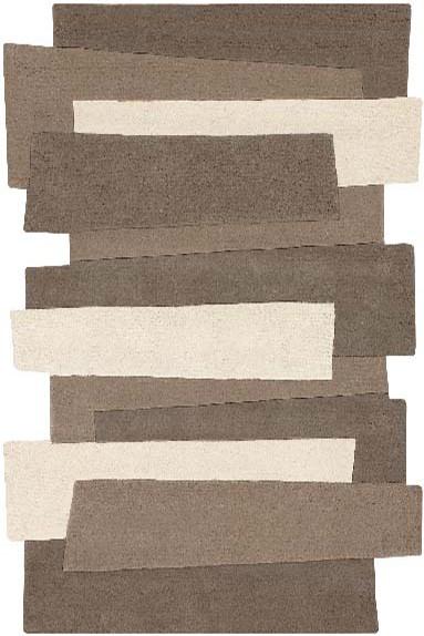 Kurzflor Designer Teppich Angelo Pebbles Balken 9714-632 beige