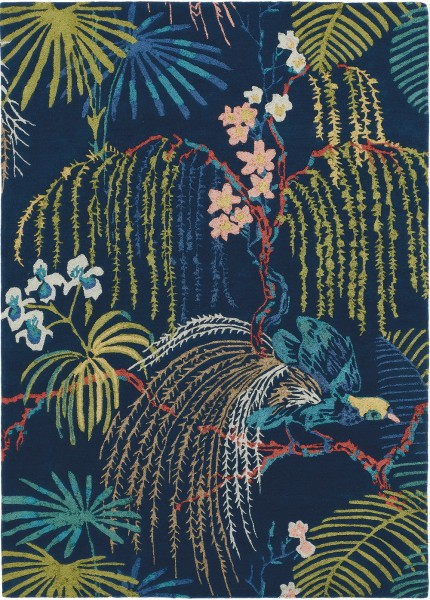 Kurzflor Designer Teppich Sanderson Rain Forest 050708 Tropical Night blau multicolor