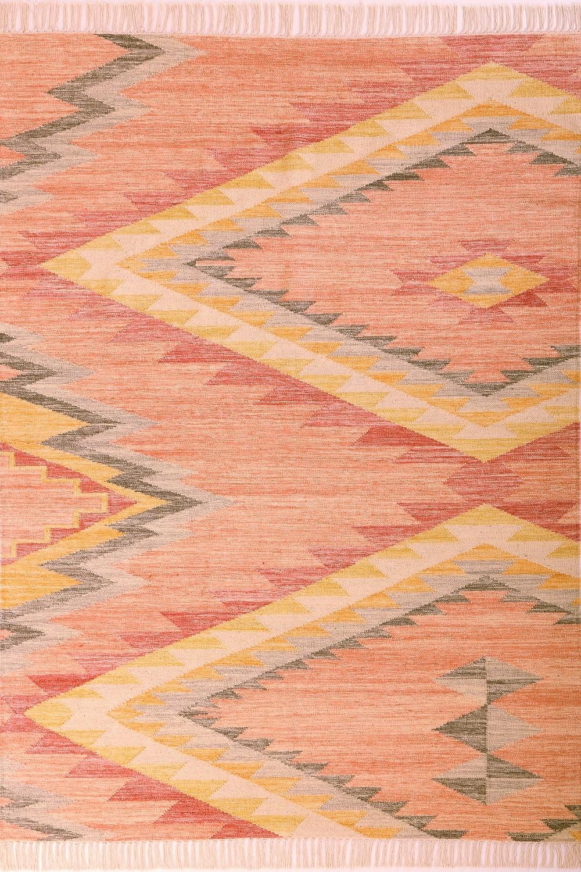 Teppich Tom Tailor Vintage Zigzag Kelim 260 Berry Rot Orange