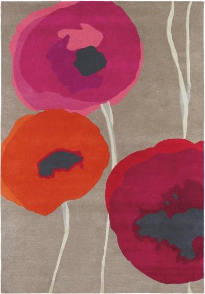 Kurzflor Designer Teppich Sanderson Poppies 45700 taupe rot orange
