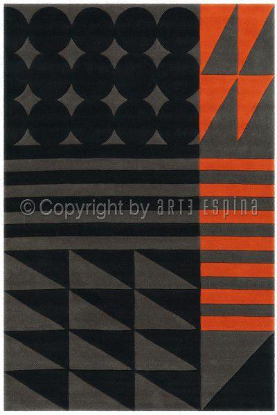 Kurzflor Designer Teppich Arte Espina Spirit 3122-28 schwarz / grau / orange