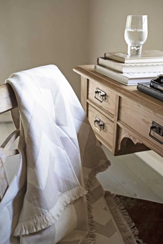 Decke recycelte Baumwolle Brita Sweden Florens greige