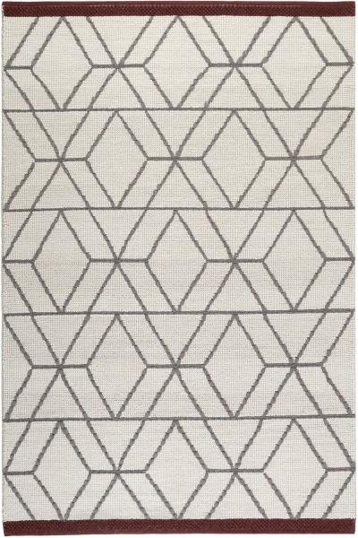 Teppich Esprit Hexagon Esp 7703 01 Weiss Grau Rot Raum Quadrat