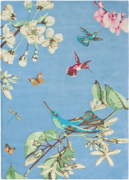 Kurzflor Designer Teppich Wedgwood Hummingbird 37808 blau